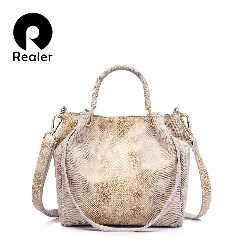 REALER brand women genuine leather handbag casual shoulder bag female gold pytho