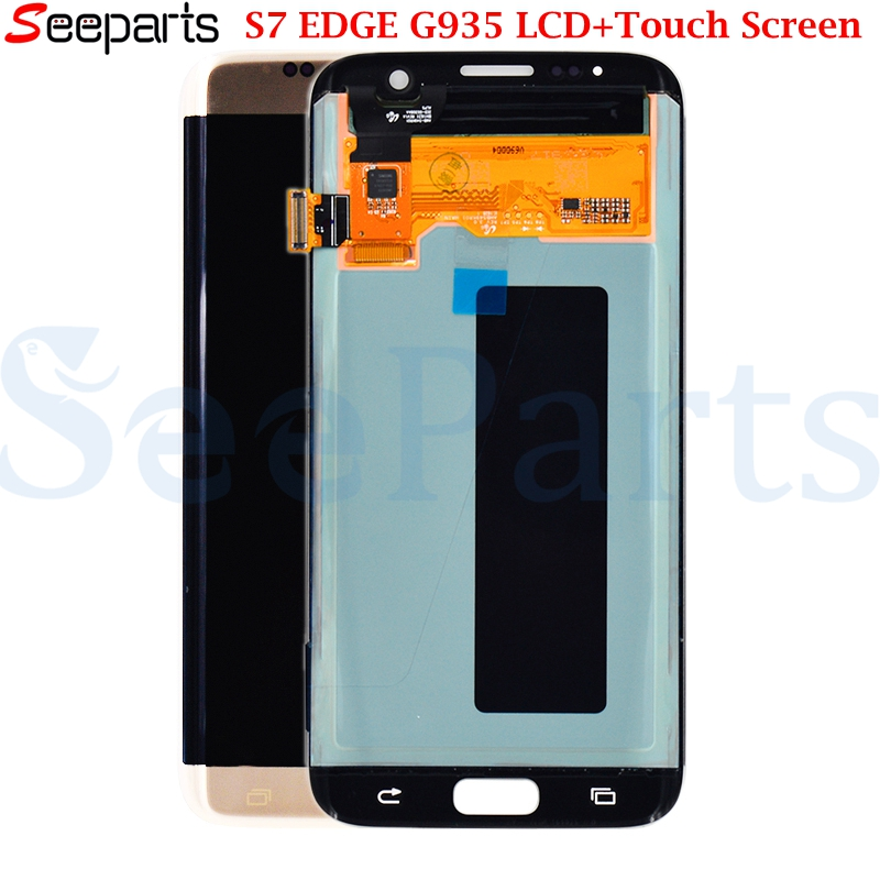 Super AMOLED Bildschirm Für SAMSUNG Galaxy S7 rand LCD Display G935 G935F Touch Digitizer Montage Ersatz Teile für s7 rand LCD