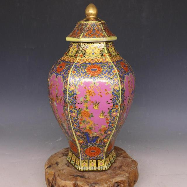 Antique Traditional Chinese Qing Dynasty Vase Enamel Hexagonal