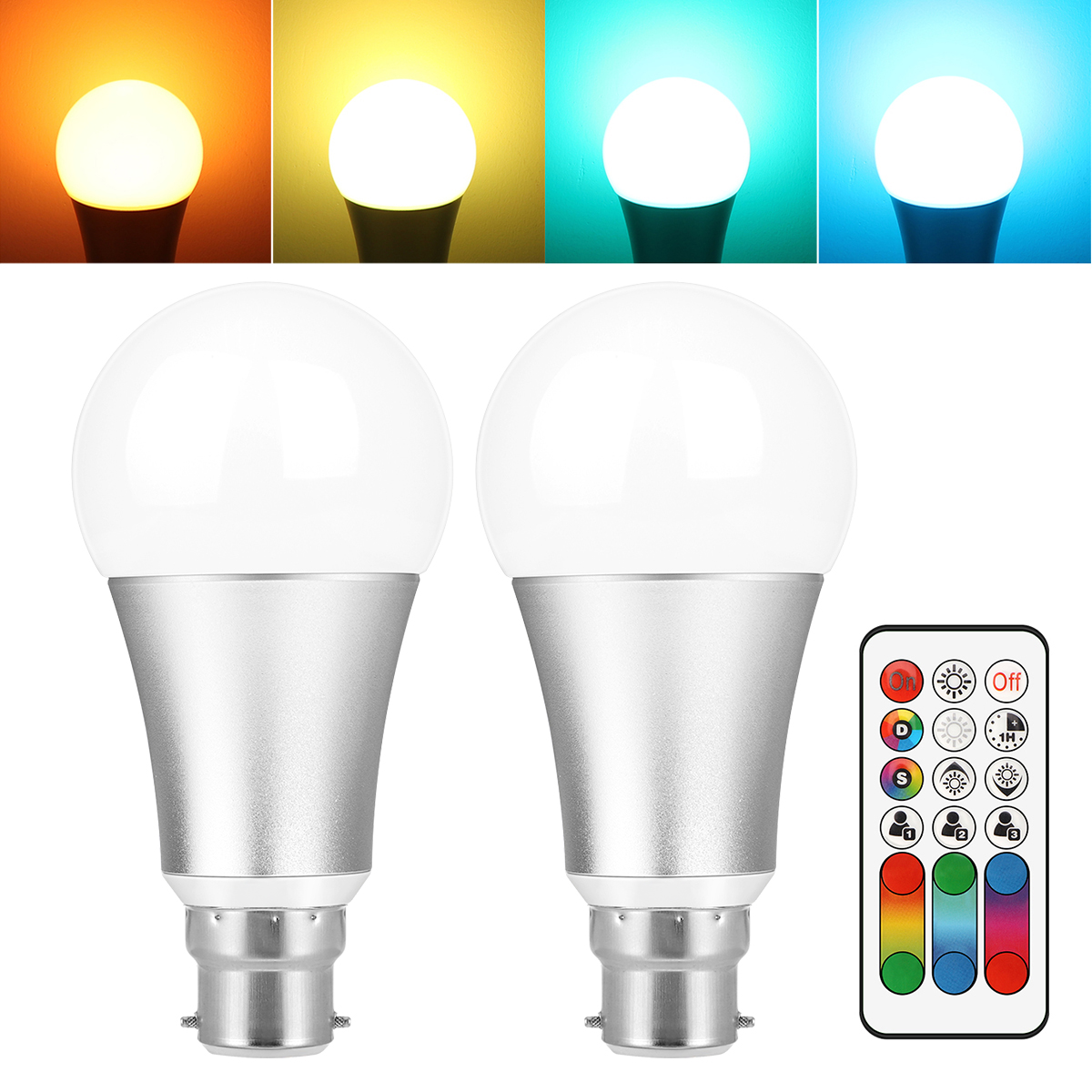 2pc 10W B22 E27 RGB LED Light Bulb Aluminum Stage Lamp 120 Colors Changing with IR Remote Support DIY Memory Function AC 85-265V jr led e27 10w 500lm led rgb light bulb w remote control white silver ac 85 265v