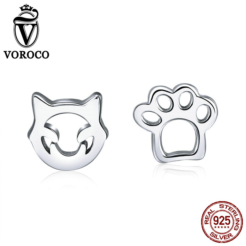 VOROCO 100% 925 Sterling Silver Cute Cat Pets Claw Stud Earrings For Girl Female Party Dating Tiny Silver Fine Jewelry VSE148