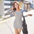 Sexy Mini Dresses Women  Spring Dress Long Sleeved Grey Mini Sexy Women Casual Party Casual Women's Clothing H16397