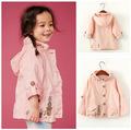 Lovely Floral Windbreaker Girls Trench Coat  jacket for girls Outerwear Kids Autumn Children's Clothing Baby Girls Hooded Coat