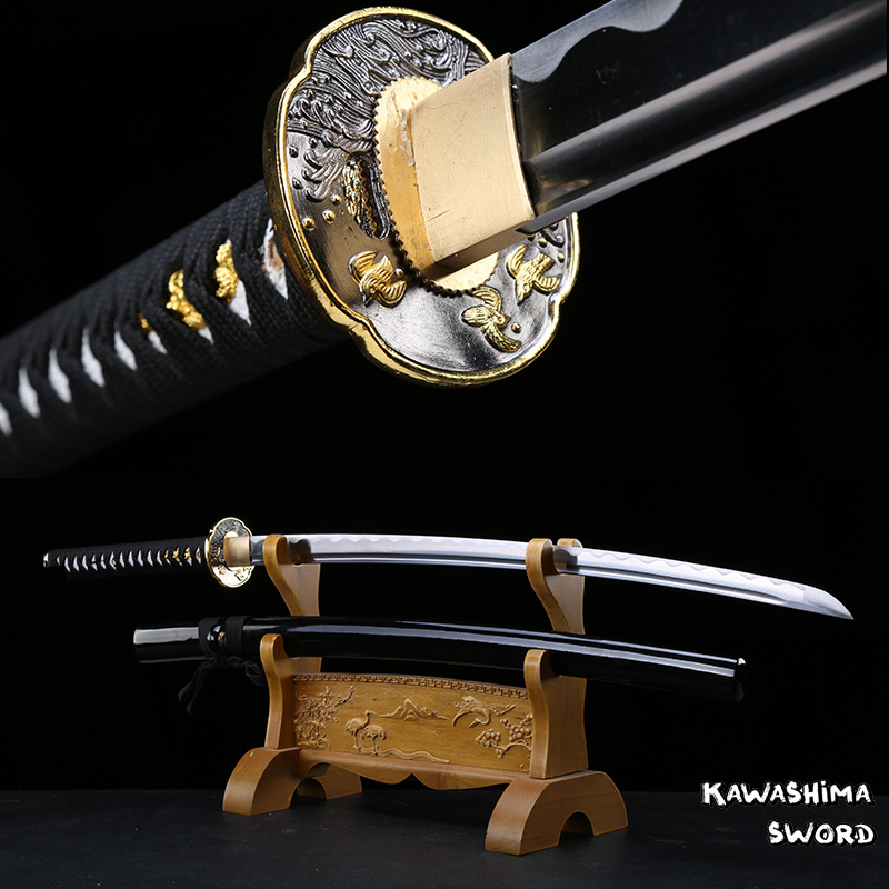 41 Inch-Japanese Katana Real Steel Blade Hand Forged Full Tang Black Glossy Sheath Razor Sharp For Cutting Straw Mat-Sword