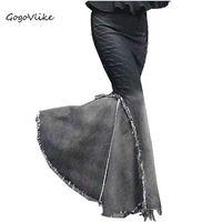 Sereia plissado Senhoras saia chão gradiente denim longo rabo de peixe saia magro expansão inferior vestido borla denim saia longa cintura alta