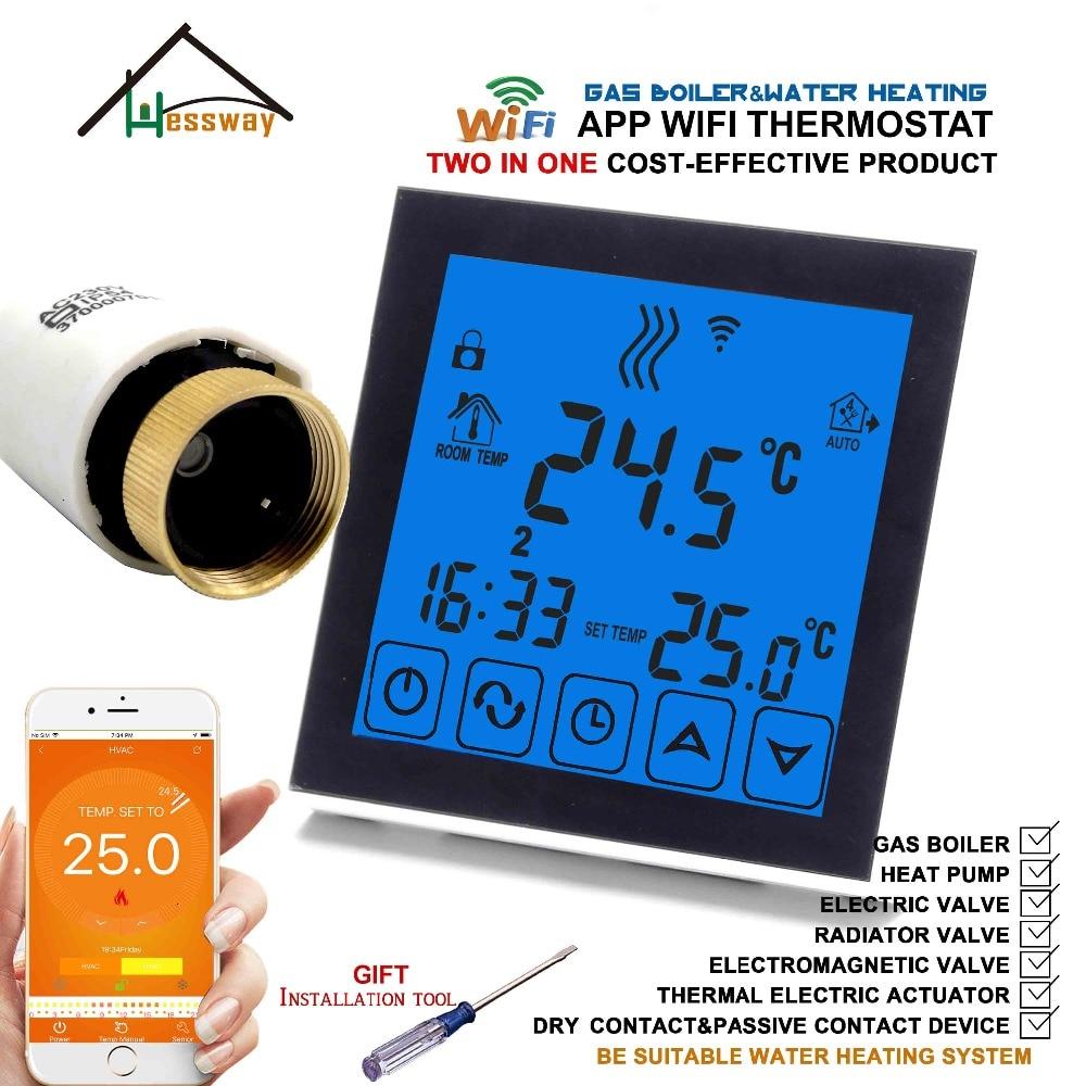 Collegamento Controller Settimanale Programmabile wifi intelligente termostato valvola termostatica per 2 in 1 Caldaia A Gas e Acqua di riscaldamento