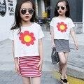 Летние дети одевая одежды малышей девушки цветочный печати наборы ребенка короткий рукав топ + dress ребенок 2 шт./компл. детская одежда