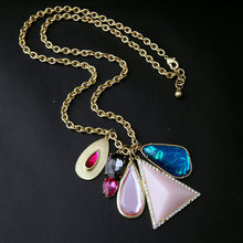 Fresh Chic Maxi Jewelry Imitation Gemstone Pendant Long Necklace Bohemian Gold Color Chunky Ladies Necklace Accessories In Box(China)