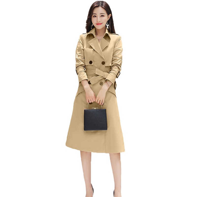 2018 New Autumn Winter Women Fashion Slim Double Breasted Long   Trench   Coats Female With Belt Outwear Office Lady Windbreaker Q64