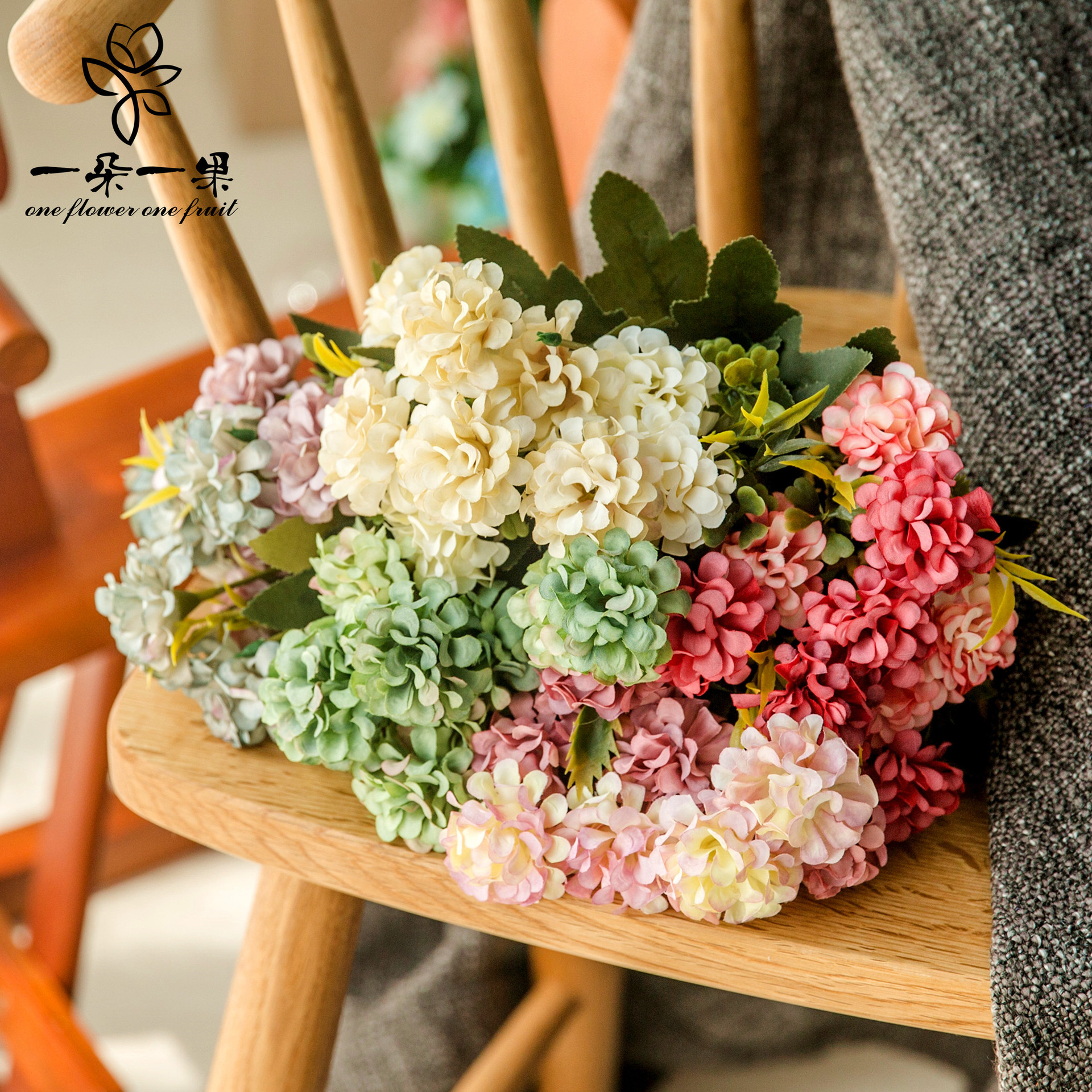Klonca Luxury Silk Flower 22cm Rich Ball Hydrangea for Wedding Party Home Decoration DIY Wreath Gift Box in Artificial Dried Flowers from Home Garden