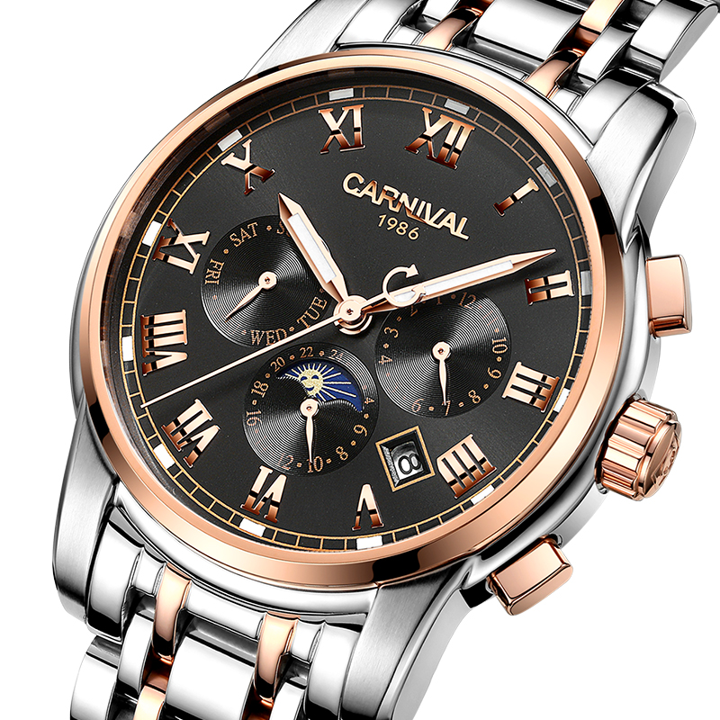CARNIVAL Watches Men Automatic Mechanical Men Watch Luxury Brand relogio masculino Sapphire Moon phase Mens Wristwatch C-8723-2 sapphire automatic mechanical watch classic mens watches top brand luxury fashion male wristwatch high quality relogio masculino