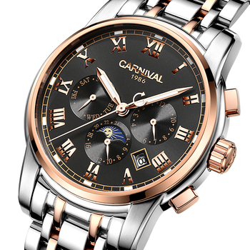 CARNIVAL Watches Men Automatic Mechanical Men Watch Luxury Brand relogio masculino Sapphire Moon phase Mens Wristwatch C-8723-2