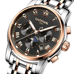 Karnawał zegarki męskie automatyczne mechaniczne męskie zegarki luksusowe marki relogio masculino Sapphire faza księżyca męskie zegarki C 8723 2|Zegarki mechaniczne|Zegarki -