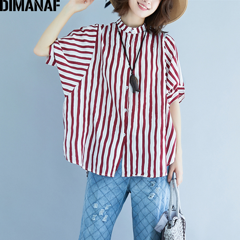 DIMANAF Women   Blouse     Shirt   Cotton Summer Plus Size Top Striped Print Femme Office Lady Large Clothing Loose Casual Cardigan Thin