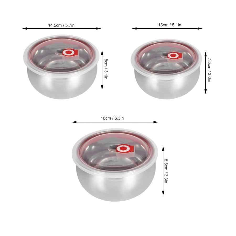 Scatola di Immagazzinaggio Scatola di Gioielli 3Pcs Portatile in Acciaio Inox Tondo Sigillo Ciotola Fresca Ciotola con Coperchio Conservazione Degli Alimenti a Distanza di Controllo