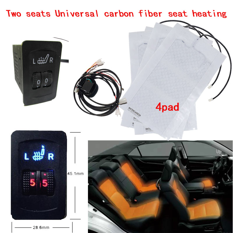 2 Seats 4 Pads Universal Carbon Fiber Car Heated Seat Heater 12V Pads 2 Dial 5 Level Switch  Winter Warmer heated seat Covers2 Seats 4 Pads Universal Carbon Fiber Car Heated Seat Heater 12V Pads 2 Dial 5 Level Switch  Winter Warmer heated seat Covers