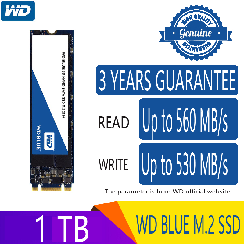 Western Digital Blue <font><b>500GB</b></font> 1TB M.2 Solid State Drive Hard Disk NGFF Internal M2 2280 SATA 6Gb/s 560MB/s for PC Laptop Notebook image