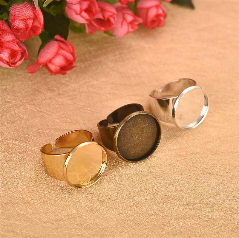 20 Ring Blanks BULK Findings Ring Setting Gold Brass Adjustable Rings
