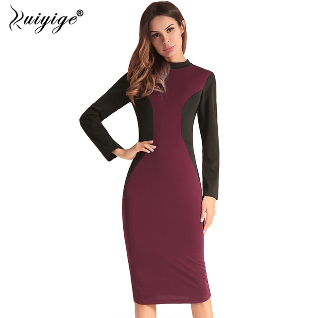 Ruiyige Women Summer Patchwork Dress Vintage Bodycon Stretch Zipper Back Dresses 2018 Pencil Work Vestidos Party Midi Club Robes