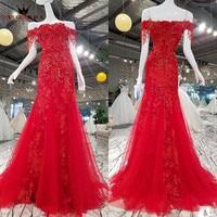 Custom Made Sexy Mermaid Suknie Wieczorowe Red Lace Zroszony Kryształ Suknia Suknie 2018 Nowy Vestido De Festa KRÓLOWA BRIDAL KC08