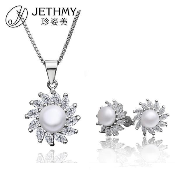 Mujeres de la manera 925 sistemas de la joyería de plata esterlina de la perla joyas de Marca collar de perlas establece. oso bijoux ee. uu. + regalo cuadro de oso