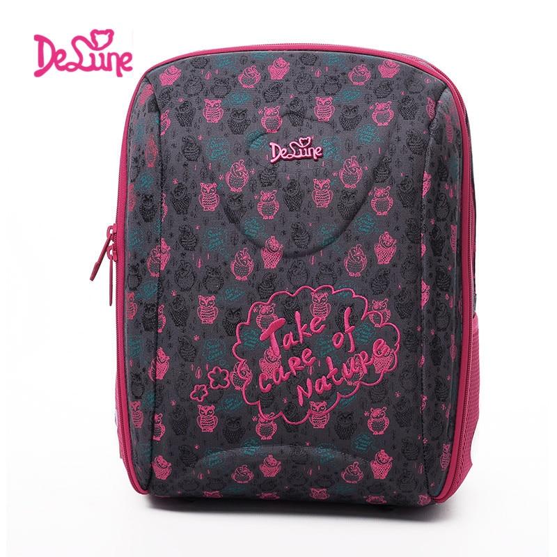 2017 Delune School Bags Children Burden Reducing School Backpack Polyester Print Orthopedic Backpack For Girl Primary School Bag