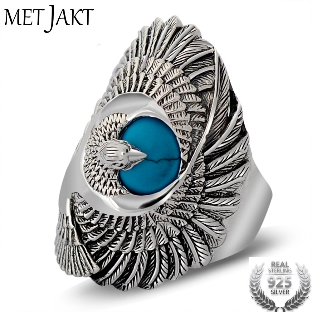 MetJakt Punk Rock 925 Sterling Silver Ring with Natural Turquoise Hand Carved Eagle Wings Rings for Unisex Thai Silver Jewelry vintage artificial oval turquoise butterfly carved ring