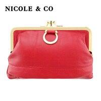 NICOLE & CO, Женский кошелек из натуральной кожи, кошелек из овечьей кожи, металлический закрывающийся замок, держатель для карт, кошелек на молн...