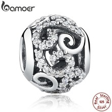 BAMOER Brand Hotsale 925 Sterling Silver Crystal Round Charms fit Bracelets Necklace Mother Gift SCC021(China)