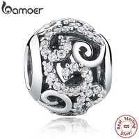 BAMOER Brand Hotsale 925 Sterling Silver Crystal Round Charms fit Bracelets Necklace Mother Gift SCC021