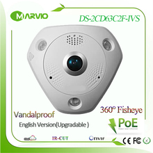 DS-2CD63C2F-IVS 12MP 4k Upgradable English version 360 degree panoramic view fisheye IP Network Camera Poe Outdoor