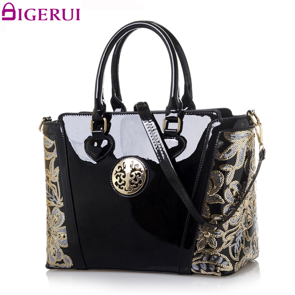 DIGERUI Women Handbag Ladies Embroidery Flower Shoulder Bag Ladies Patent Leather High Quality Totes A2847 patent leather handbag shoulder bag for women page 5