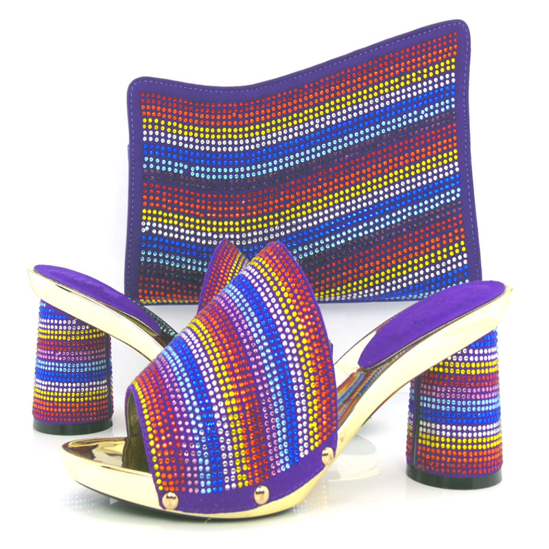 purple Hot sale Italian ladies shoes and matching bag with rhinestone, top quality African style shoes and bag for party!HPX1-10