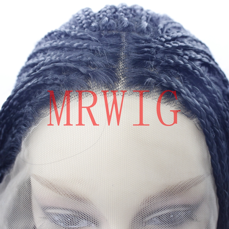 MRWIG Middle Part Box Braids Glueless Front Lace Wig 26in 650g Real Hair Ombre Black/Grey/Purple Braided Wigs for Black Women