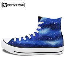 Blue Galaxy Nebula Original Design Converse All Star Custom Shoes Men Women Hand Painted Canvas Sneakers Birthday Gifts