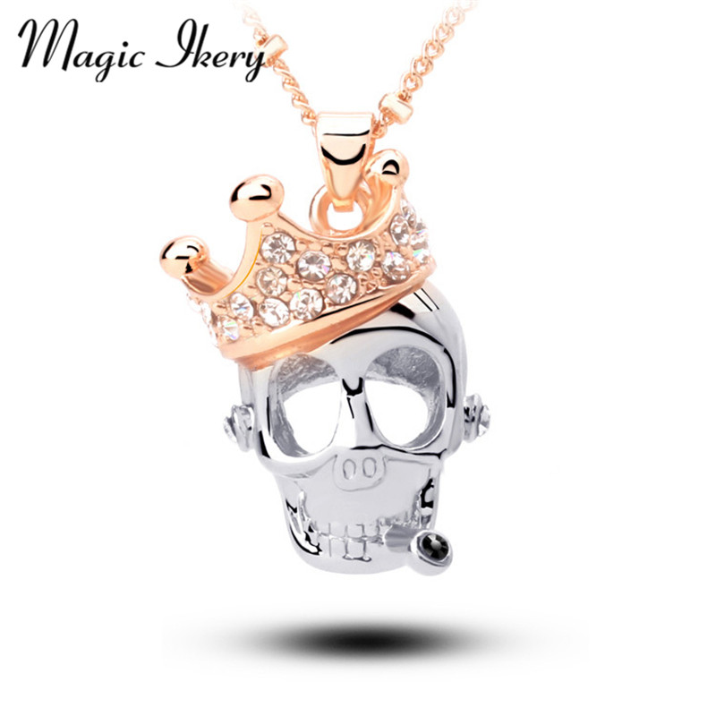 Magic Ikery Rose Gold Color Crystal Crown Skull Skjelett Halskjeder Anheng Wholesales Motesmykker for kvinner MKL5149