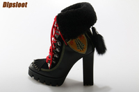 Winter Newest Black Leather Lace Up Martin Boots High Platform Ladies Chunky Heel Fur Boots Faux Fur Tail Back High Heel Boots
