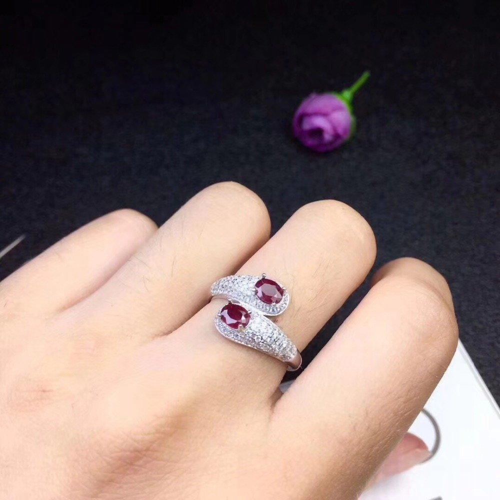 Free Shipping Natural real ruby Ring 925 sterling silver Free shipping Gemstone 4*5mm 2pcs