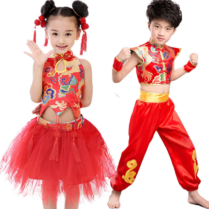 girls boys chinese new year costume clothes dress suit sets size 100 140 for 2 10 years children. Black Bedroom Furniture Sets. Home Design Ideas