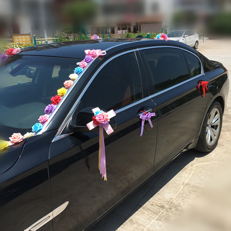 Arc-en-ciel mariage voiture décoration ensembles fleurs artificielles mariage Docoration mousse Roses décoratif couronne bricolage en gros - 4