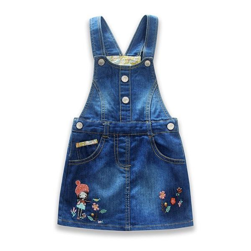 New Arrival Baby Girls Dress Sundress Children Metal Buttons Sundress Kids Suspender Girls Denim