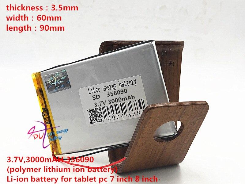 Liter energy battery 3 7V 3000mAH 356090 polymer lithium ion battery Li ion battery for font