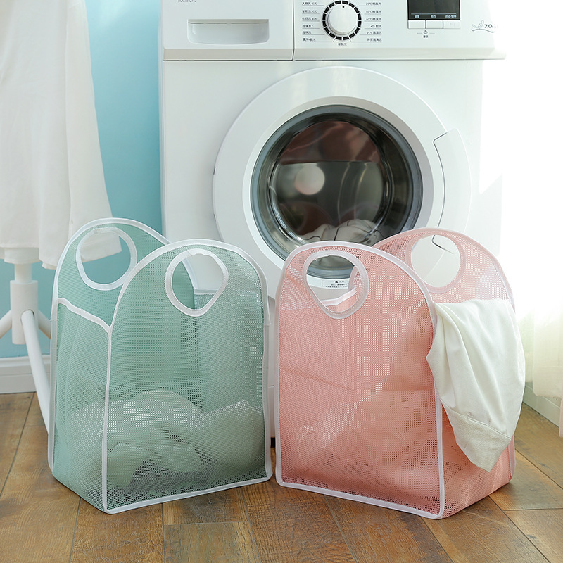 Family Daily Nylon Grid Dirty Clothes Foldable Laundry Storage Baskets Portable Accept Basket Fold Accept Frame Organization