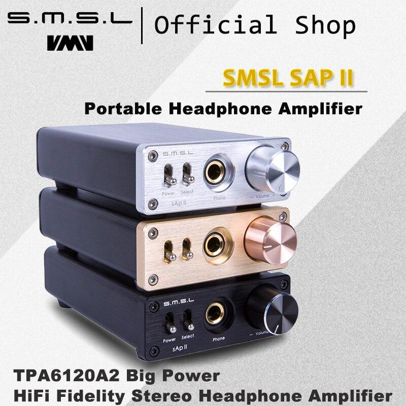 SMSL SAP II Portable Casque Amplificateur TPA6120A2 Grande Puissance HiFi Fidélité Stéréo Casque Amplificateur avec 2 Façons entrées de commutation