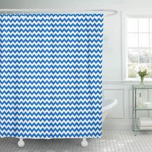 Shower Curtain Abstract Blue White Chevron Pattern Bright Celebration Classic Diagonal Geometric Happy Decorative Bathroom