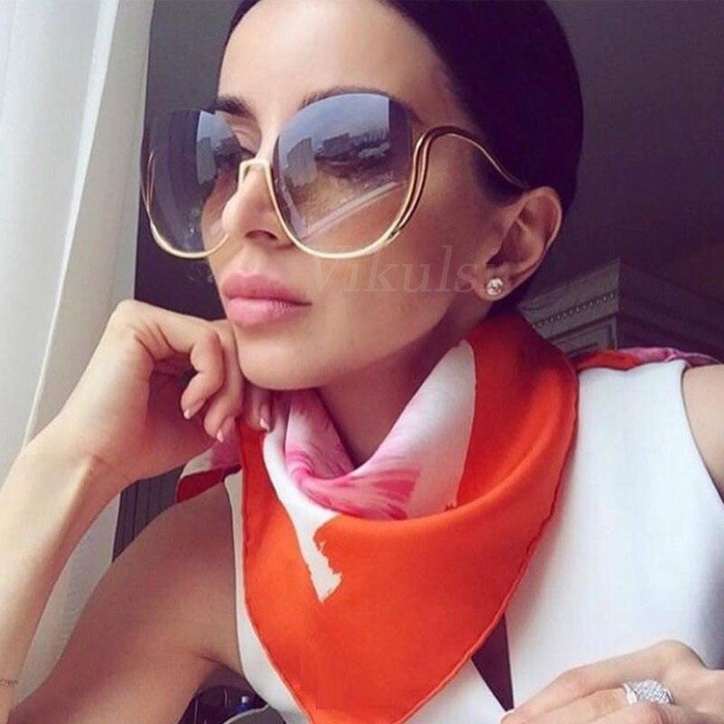 2017 randlose Gradienten Sonnenbrille Frauen Luxury Brand Designer Übergroße Runde Sonnenbrille Damen Gradienten Shades Brillen Klar