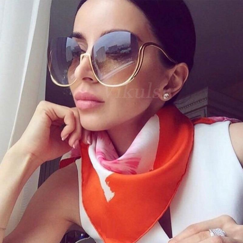 2017 оправы градиент Солнцезащитные очки для женщин Для женщин Роскошные Брендовая Дизайнерская обувь негабаритных Круглый Защита от солнца Очки дамы градиентные оттенки ясно очки