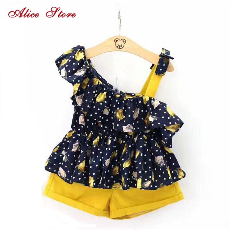 Girl retro floral 2 clothes sets 2021 summer new fashion polka dot Sleeveless Shirts waist belt tie shorts clothing suits 1