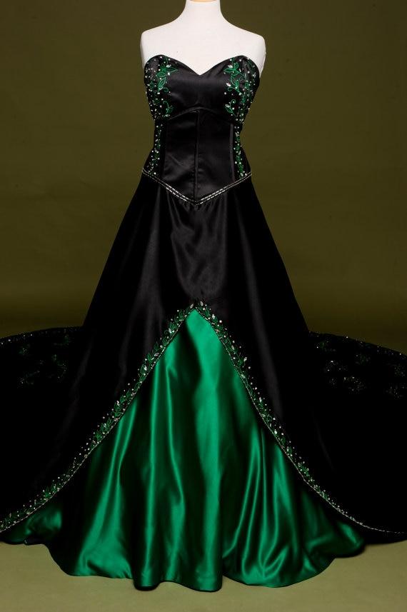 Popular green black wedding buy cheap green black wedding for Gothic wedding dresses cheap