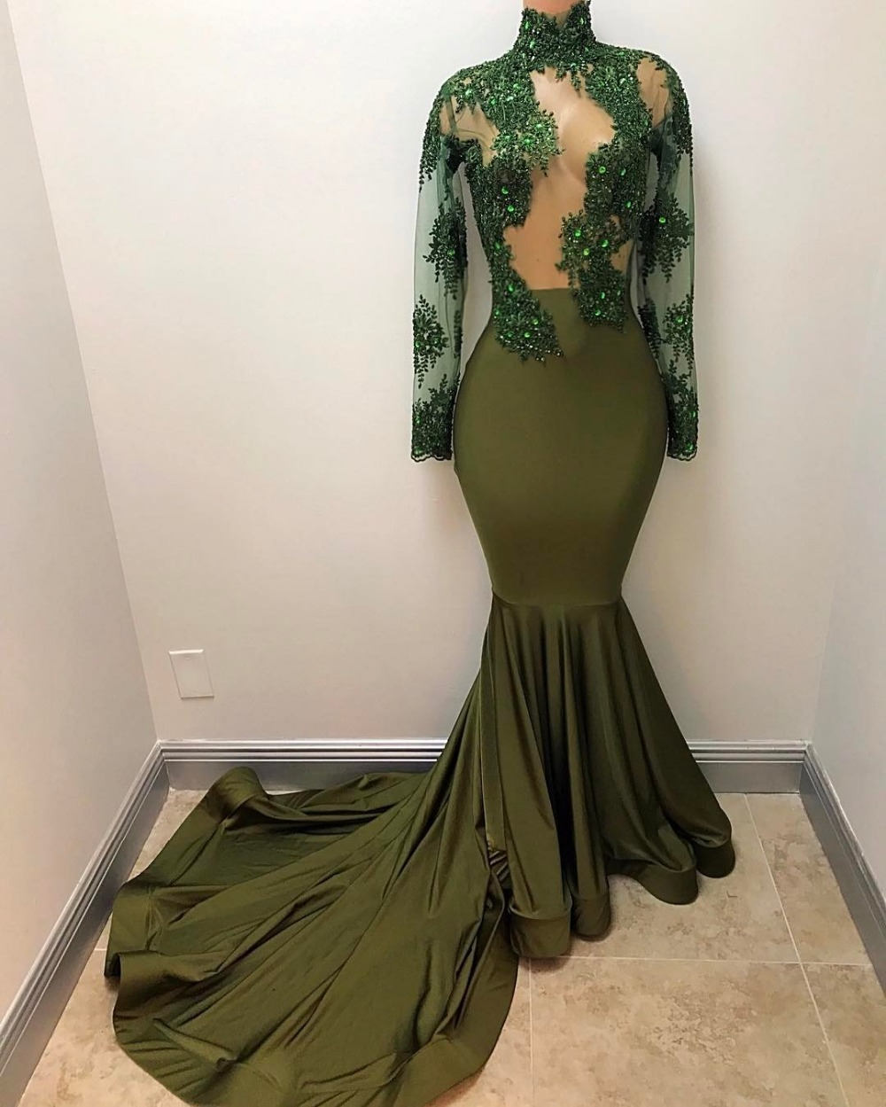 Green 2019   Prom     Dresses   Mermaid Long Sleeves Lace Beaded See Through Party Maxys Long   Prom   Gown Evening   Dresses   Robe De Soiree